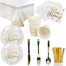 Tableware-Sets Napkins Cups Paper-Plates Straw Birthday-Party-Supplies Gold-Star Disposable