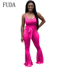 FUDA Sleeveless Tight-fitting Strap Jumpsuits Sexy Flared Playsuits Summer Bodycon Bandage Overalls Rompers Plus Size XXL