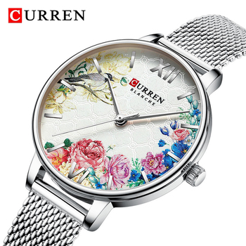 CURREN 9059 Floral Pattern Quartz Watch Ladies Casual Waterproof Stainless Steel Wrist Watch With Box