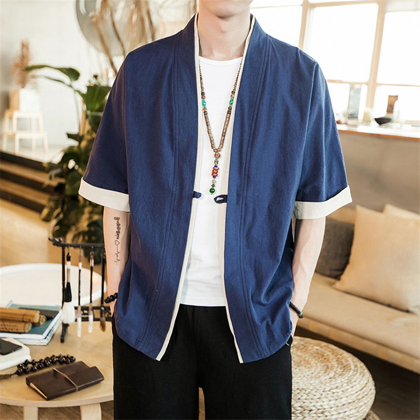 2020 Linen Half Sleeve Traditional Shirt Man Chinese Style Retro Spring Outfits Coat Male Loose Single Button Japanese Kimono