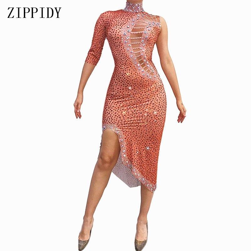 Sexy AB Stones Orange Dress Big Stretch Evening Long Dress Party Singel Sleeve Costume Singer Dance Shinning Rhinestones Dress