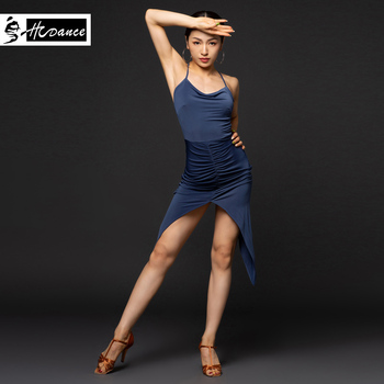 Latin dance costume female adult new dance practice clothes suit sexy strap dress - A3182