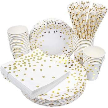 Instrument kuchenny złota strona punkt ciasto płyta papieru 50 sztuk partia nadaje się na urodziny wesele imprezy i wycieczki tanie i dobre opinie CN (pochodzenie)