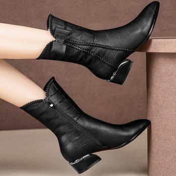 цена Lattice leather boots women winter plush boots mid calf shoes ladies wedges boots 2020 runway shoes woman онлайн в 2017 году