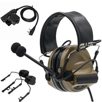 Tactical electronic shooting COMTAC II noise reduction hunting headset + tactical U94 PTT + tactical helmet ARC track adapter DE tactical comtac ii anti noise sound amplification electronic noise reduction shooting headphones and tactical ptt u94 ptt de