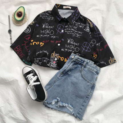 Lether Printed Hot Style Hawaiian Shirt With Short Sleeves S-XL Cool Hip Hop Women Blouse Shirts Camisa  Dropshipping L0390