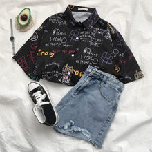 Lether Printed Hot Style Hawaiian Shirt with Short Sleeves S-XL Cool Hip Hop