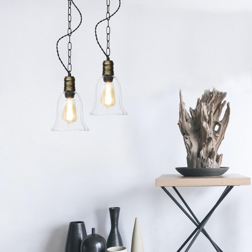 Vintage Loft Decor LED Pendant Lamp Iron Glass Industrial Edison Hanging Light Fixtures Dining Room Bar Home Lighting Luminaire