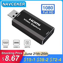 2020 Video Capture Card USB 2.0 HDMI Video Grabber Record Box fr PS4 Game DVD Camcorder HD Camera Recording Live Streaming