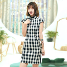 Black White Plaid Qipao Dress Chinese Mini Cheongsam Cotton Stretch Chinese Dress Short Chipao Traditional Chinese Clothing(China)
