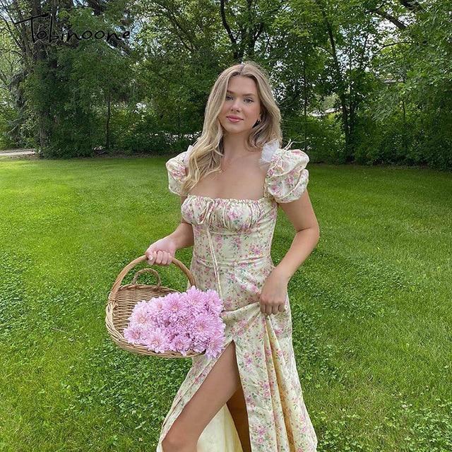 Tobinoone Print Summer Dress Women Floral Short Puff Sleeves Square Collar High Slit Sundress Party Drawstring Holiday Dresses 3