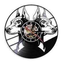 Wall-Clock Doberman Decor Dog-Breeds-Head Animals 3D Silhouette Pinscher Portraits