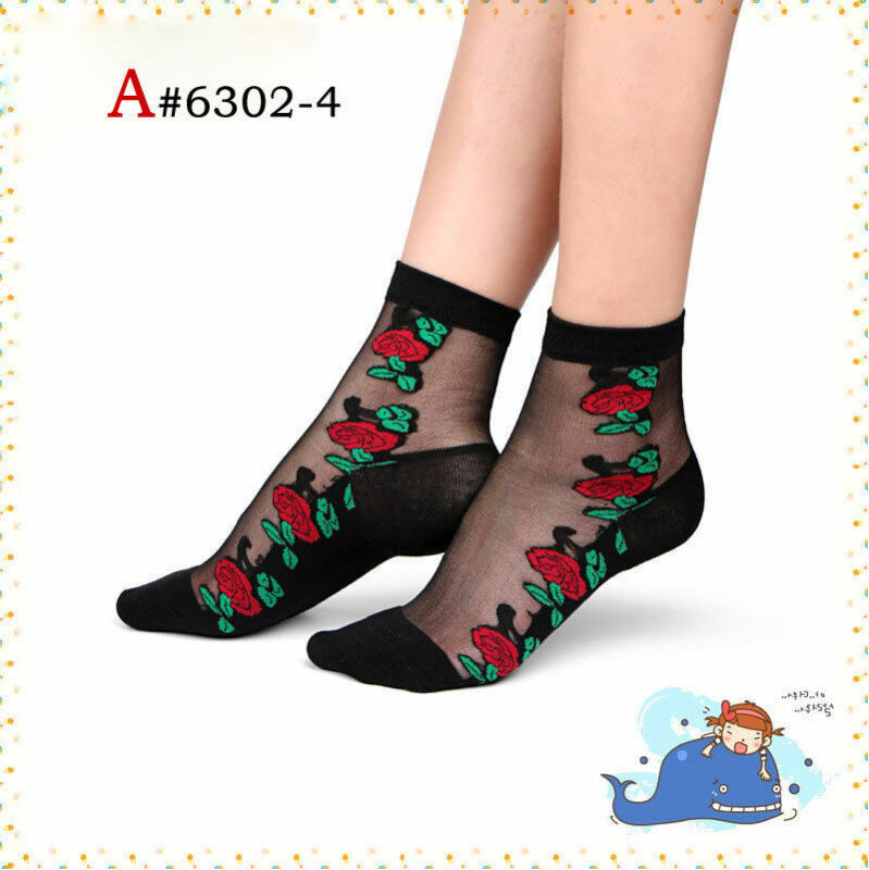 Women Socks Ladies Crystal Lace Silk Thin Stockings Transparent Comfy Ankle Short Sock /BY