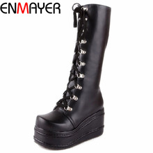 ENMAYER ShoesNew Motorcycle Boots Gothic Punk Shoes Cosplay Boots Knee High Heel Platform Sexy Zip Winter Wedges Knee High Boots cheap Mid-Calf Solid YX201705011126 Cotton Fabric Round Toe Rubber High (5cm-8cm) 0-3cm Fits true to size take your normal size