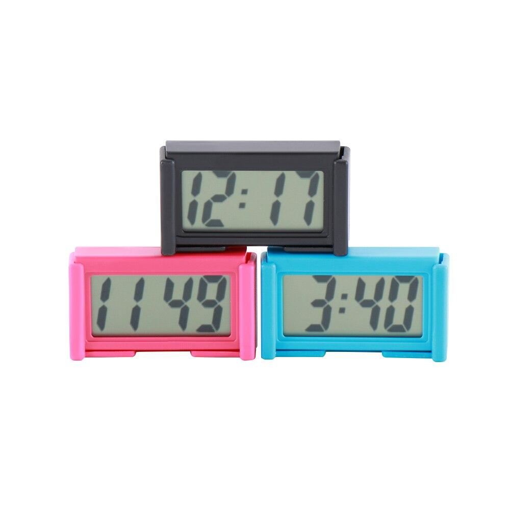 Desk Digital Clock LCD Screen Self-Adhesive Auto Dashboard Car Interior Or Stand Plastic Mini Time Clock With Battery