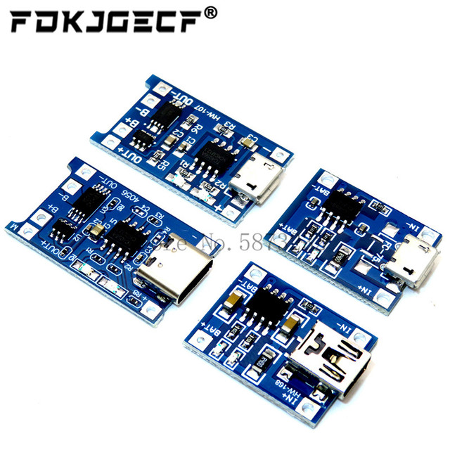 10Pcs Micro Type-c USB 5V 1A 18650 TP4056 Lithium Battery Charger Module Charging Board With Protection Dual Functions 1A Li-ion 1