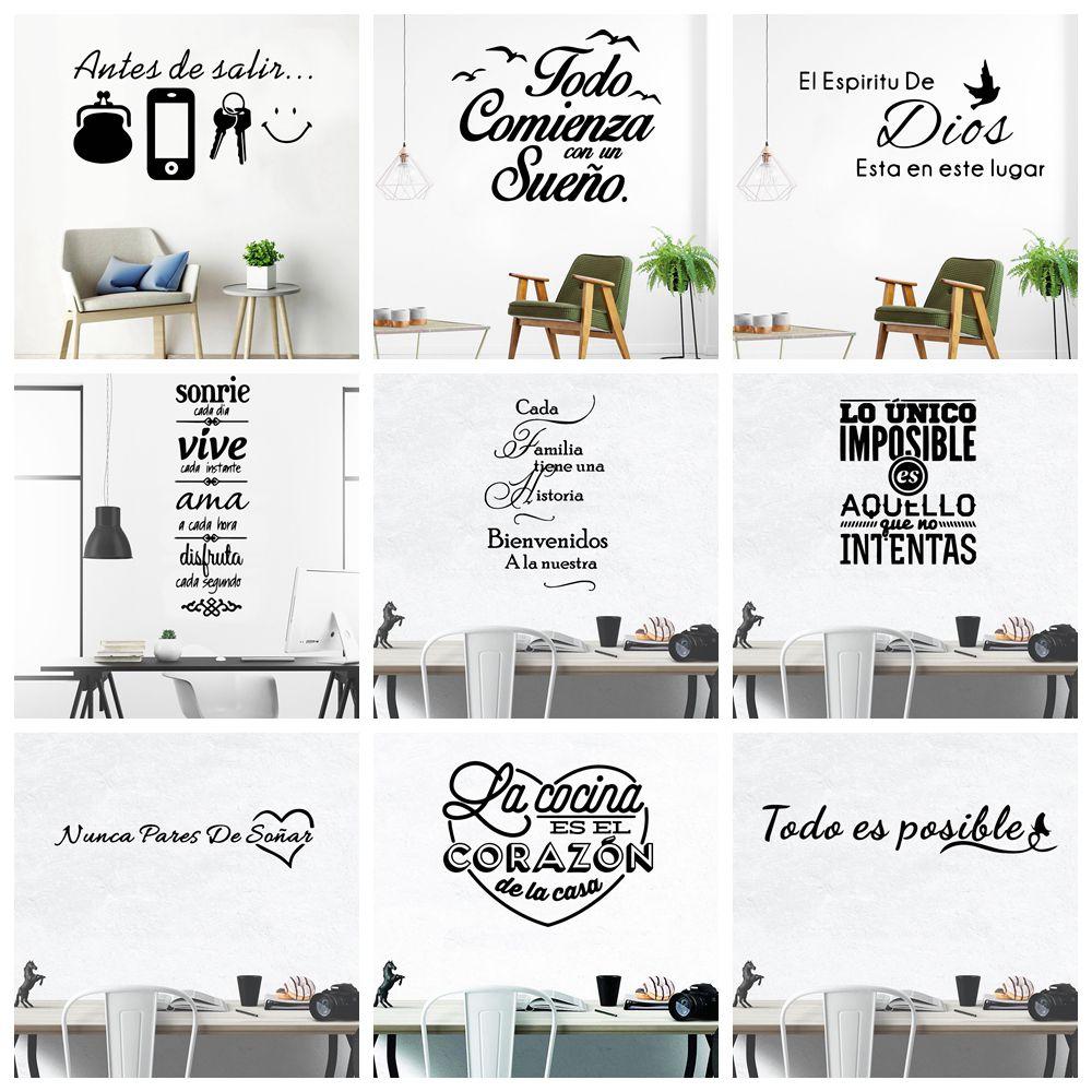 Grandes citações espanholas frase decalques da parede papel de vinil adesivos para sala de escritório decalque adesivo de parede decoração para casa cartaz mural