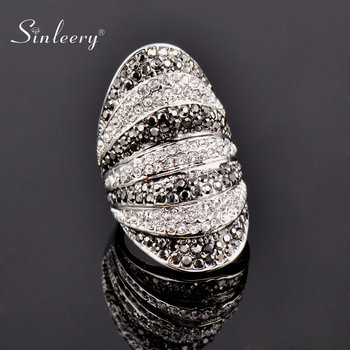 SINLEERY Retro Black White Cubic Zirconia Big Wide Rings for Women Party Jewelry Bague Femme Size 6 7 8 9 10 JZ180 SSB