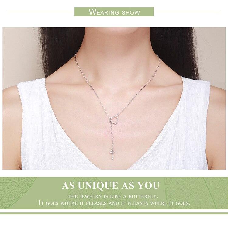 H764a3bc4d2e14ed6a86482a6a3589c3cj BAMOER 925 Sterling Silver Sweet Key of Heart Lock Link Chain Necklaces & Pendants Women Luxury Sterling Silver Jewelry SCN107