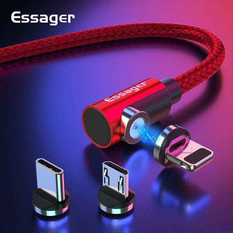 Essager מגנטי כבל מיקרו USB סוג C טעינת כבל עבור סמסונג iPhone 7 6 מטען מהיר מגנט כבל USB C כבל חוטי מתאם