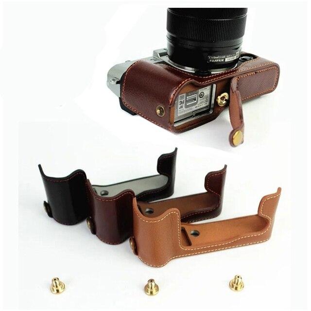 אמיתי עור פרה עור חצי גוף מקרה מצלמה תיק כיסוי עבור Fujifilm X T30 X T20 X T10 XT10 XT20 XT30 עם סוללה פתיחה