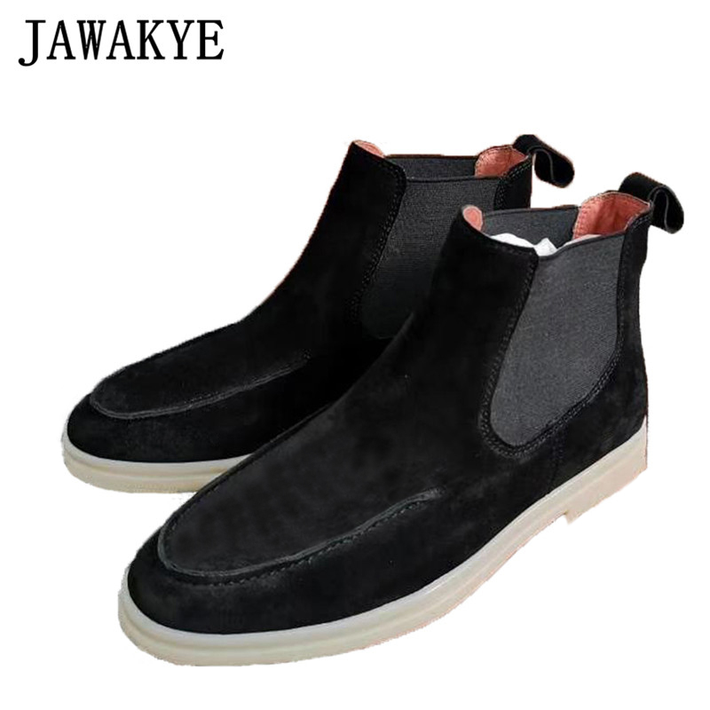 New Suede Chelsea Ankle Boots Women Elastic Slip On Flat Women Shoes British Style Round Toe Flat Short Boots Woman Cowboy Boots