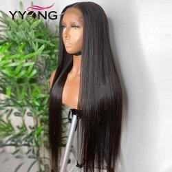 YYong 1x6 T częściowo koronka peruka HD przejrzyste koronki przodu włosów ludzkich peruka Remy brazylijski proste włosy ludzkie koronkowa peruka na przód wstępnie oskubane