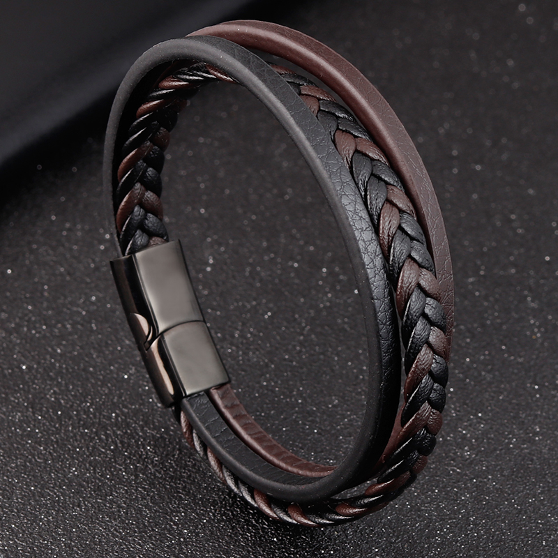 2020 New Design Multi-layers Handmade Braided Genuine Leather Bracelet & Bangle For Men Male Hand Jewelry For Birthday Gift