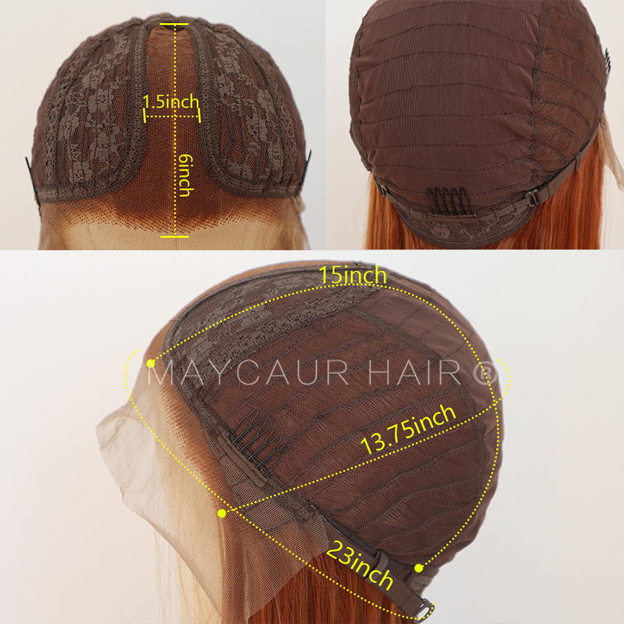 maycaur Synthetic Lace Front Wig Silky Straight 30B Heat Resistant Synthetic Replacement Hair Wigs for Fashion Women (5)