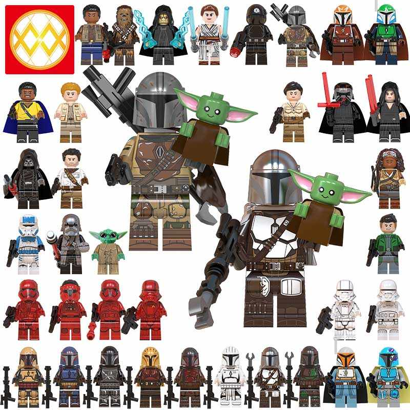 Mandalorian bambino Yoda naves star lEGOED MINIFIGURED aumento di skywalker Wars 9 Kylo Rened star wars Building Blocks Giocattoli Figure