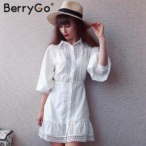 Image 5 - BerryGo Vintage בת ים קצר לבן שמלות נשים 2019 סתיו חורף תחרה כותנה שמלת חולצה נשי ארוך שרוול vestidos טהור