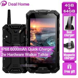 Смартфон Conquest S8, прочный, IP68, экран 5 дюймов 1080p IPS, 4 Гб ОЗУ 64 Гб ПЗУ, рация, Аккумулятор 6000 мАч, NFC, 4G LTE мобильный телефон