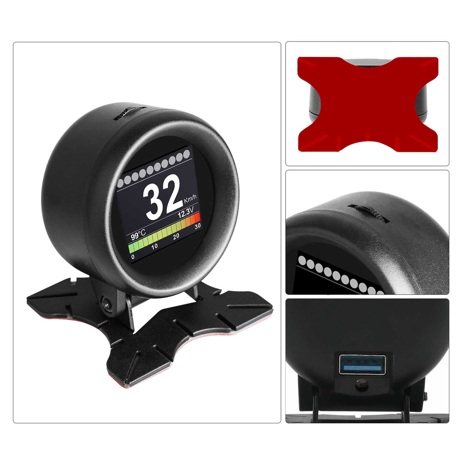 AUTOOL X60 자동차 스마트 디지털 다기능 측정기 디스플레이 속도계 게이지 수온 조기 경보 자동 오류 코드 리더