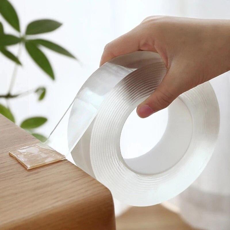 Transparent Magic Nano-tape Washable Reusable Double-Sided Tape Adhesive Nano Traceless Sticker Removable Universal Disks Glu