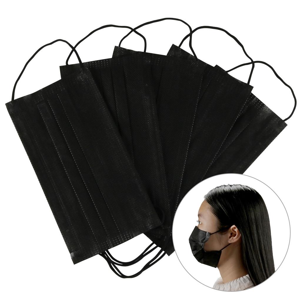10/50/100Pcs Tessuto Non Tessuto Maschera Bocca Viso Maschera Bocca Maschera Usa E Getta Maschera Nera Anti-Polvere Maschera Pm