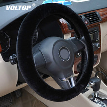 VOLTOP Plush Steering Covers Car Accessories Steering Wheel Cover Winter Soft Wool Non slip Universal Diameter 36 38cm
