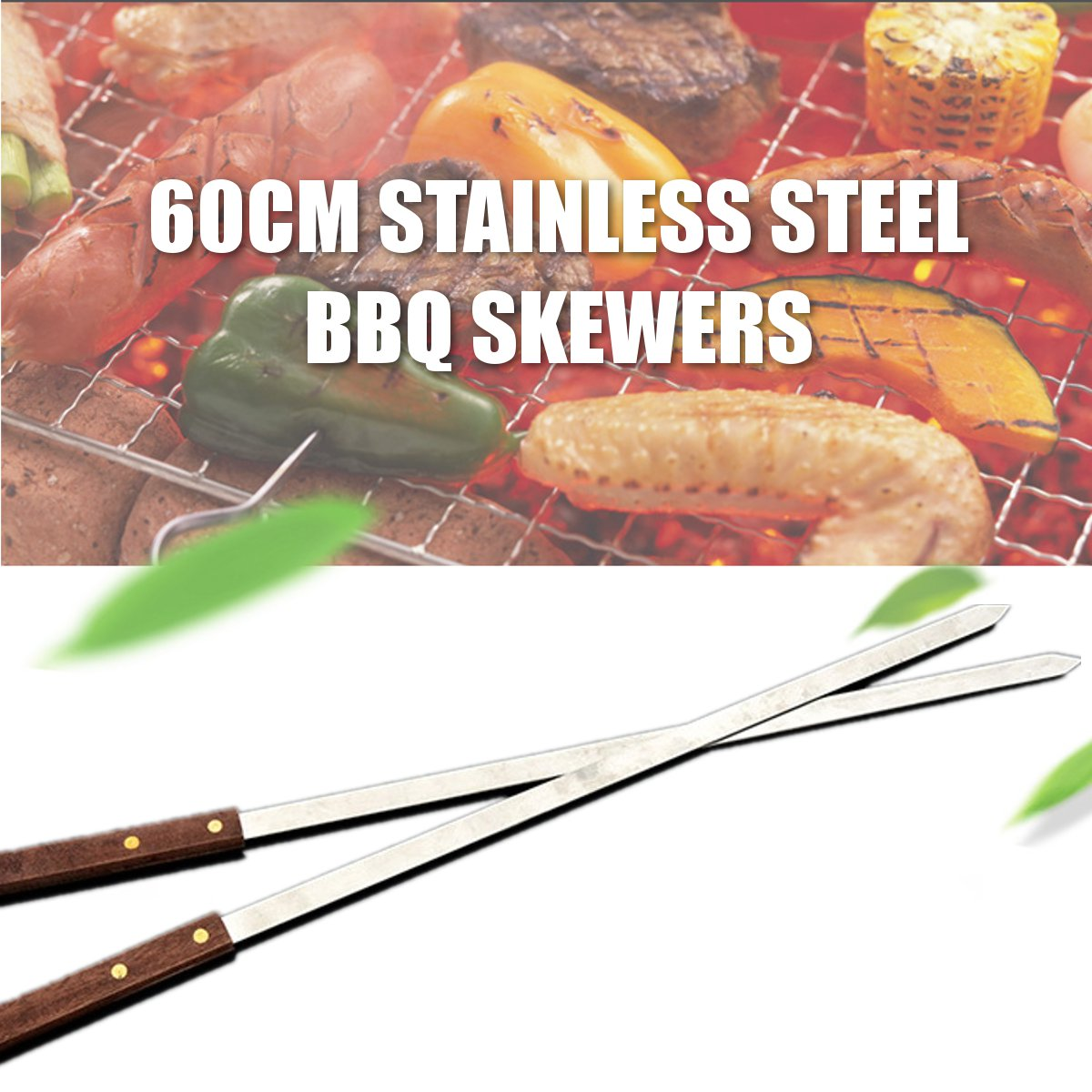 Fil d'acier inoxydable BBQ brochettes Kabob large gril manche en bois grille rôtissoire bâtons Barbecue extérieur outils 600x23x2mm 1 pièces