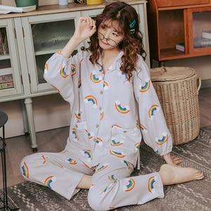 Image 4 - BZEL Hot Sale Pajamas Sets For Women Stylish Cartoon Pijamas Long Sleeves Long Pans Ladies Pyjamas Casual Homewear Big Size XXXL