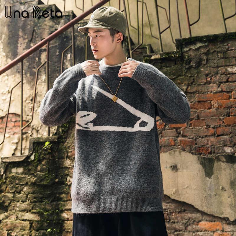 Una Reta/мужской свитер большого размера, новый осенне-зимний Повседневный пуловер с круглым вырезом и принтом, мужской свитер, мужской свитер в стиле хип-хоп