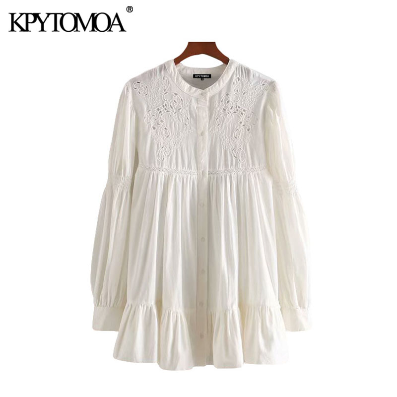 KPYTOMOA Women 2020 Fashion Hollow Out Embroidery Ruffled Blouses Vintage O Neck Long Sleeve Female Shirts Blusas Chic Tops