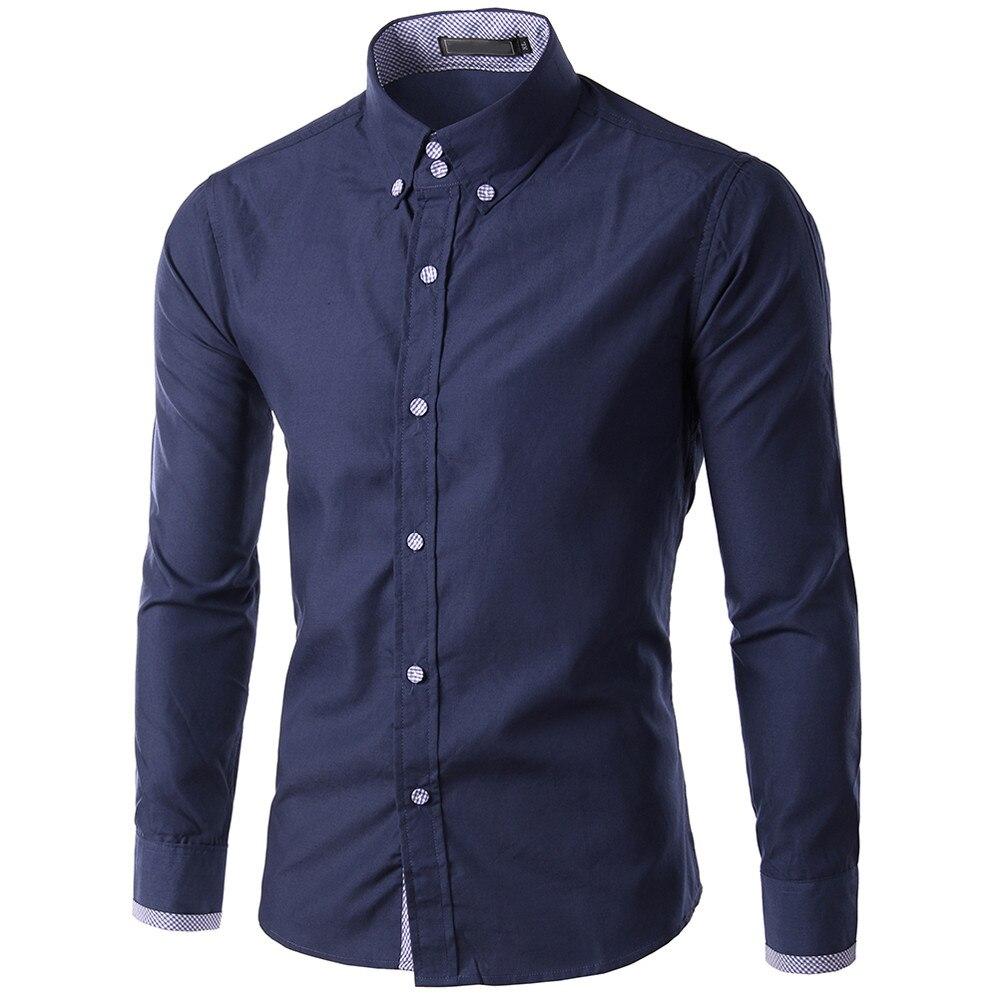 Homens de alta qualidade camisa Camisa de Manga longa Dos Homens formais Novo de Lazer Moda Pura Manga Longa ocasional camisa 10.4
