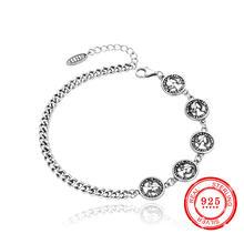 Корейский стиль 100% Стерлинговое Серебро 925 браслет старинное