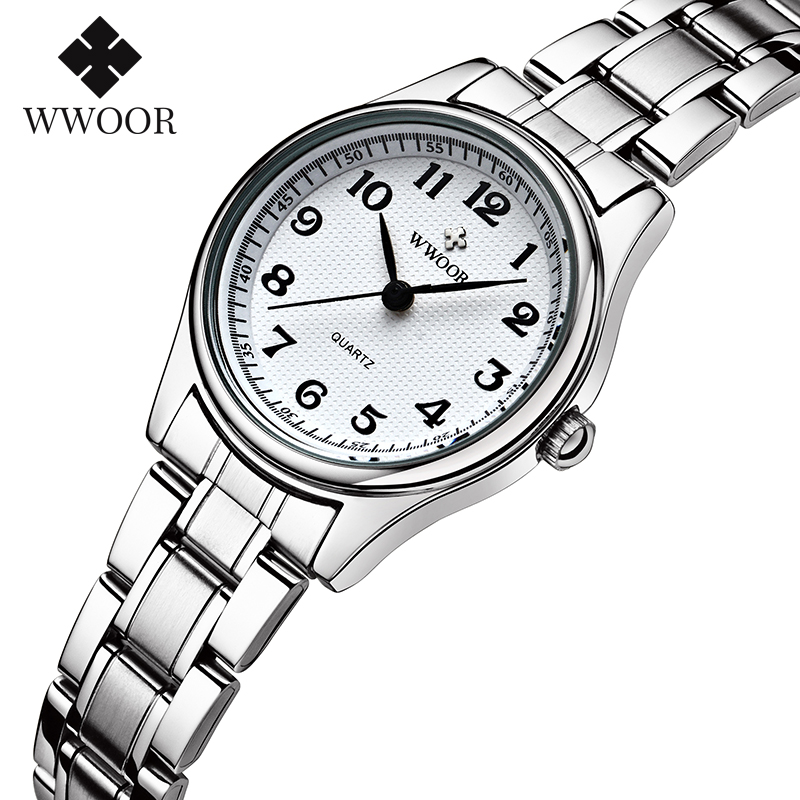 WWOOR Watch Women Fashion Designer Style Quartz Casual Ladies Wrist Watch Arabic Numerals Small Bracelet Watches Stainless Steel