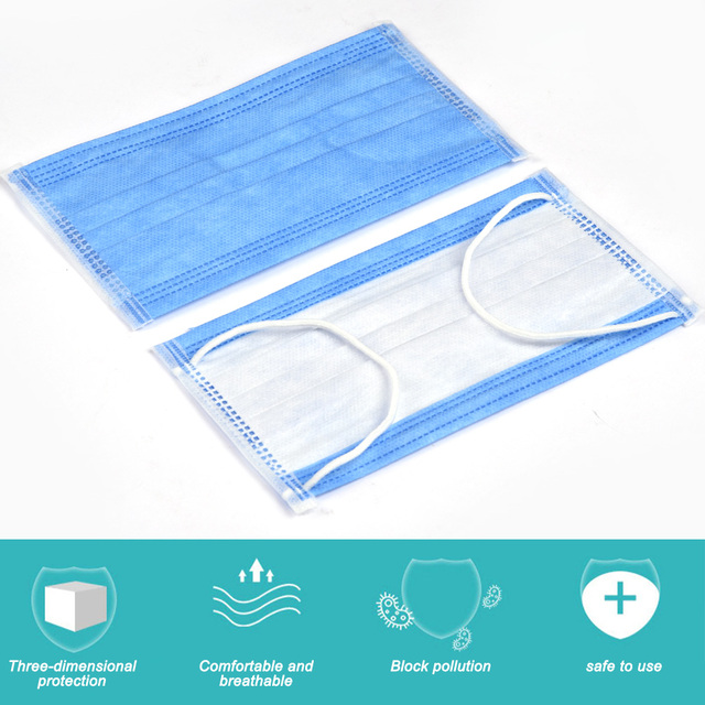 In Stock Fast shipping Medical Mask Anti Flu Safe Face Masks Mouth Cover Non-woven Disposable Earloops Adult Surgical Mask Blue 3