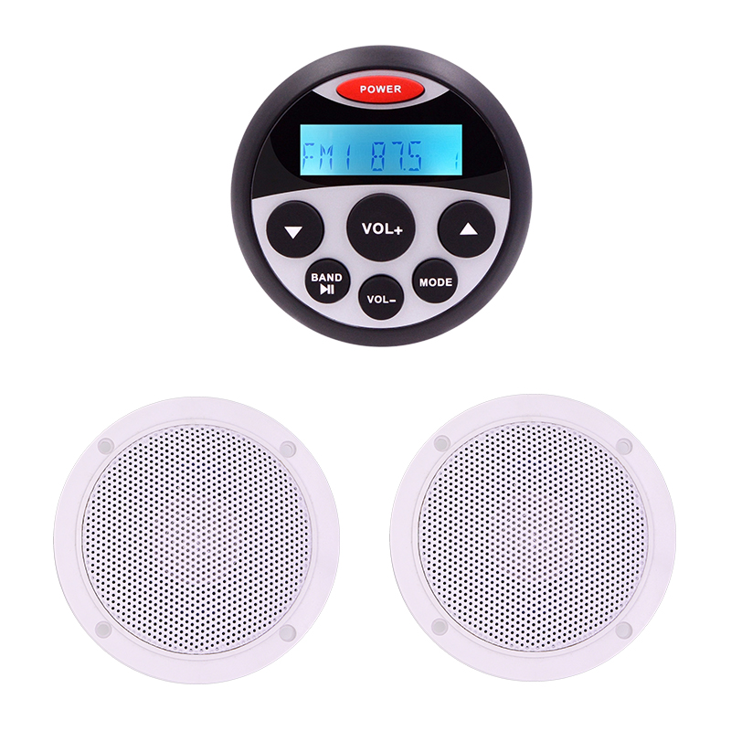 Guzare étanche Marine Radio Audio stéréo récepteur Bluetooth pour bateau RV lecteur MP3 + 1 paire 4 ''haut-parleurs blancs