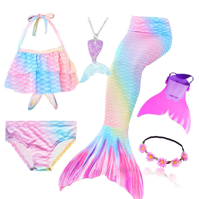 Image 4 - Kids Swimmable Mermaid Tail for Girls Swimming Bating Suit Mermaid Costume Swimsuit can add Monofin Fin Goggle with GarlandGirls Costumes   -