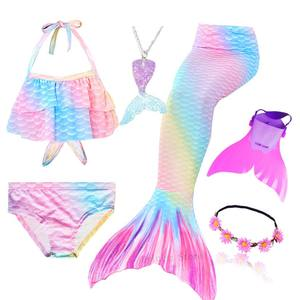 Image 4 - Kids Swimmable Mermaid Tail for Girls Swimming Bating Suit Mermaid Costume Swimsuit can add Monofin Fin Goggle with Garland
