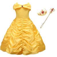 Disfraz de bella para niñas, vestido de princesa con hombros descubiertos, para fiesta de La Bella y La Bestia, para Halloween y cumpleaños