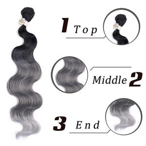 Image 5 - お気に入り実体波の毛 3 バンドルと閉鎖合成 4 個ロット黒ブルー/パープル/グリーン/ブロンド/グレー黒、白の女性