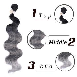 Image 5 - FAVE גוף גל שיער 3 חבילות עם סגירת סינטטי 4Pcs הרבה שחור כחול/סגול/ירוק/בלונד/אפור עבור שחור לבן נשים